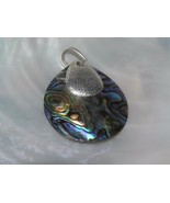 Estate KC Signed Abalone Curved Circle with SIlvertone Rounded Triangle ... - $10.39