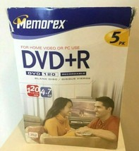 Memorex DVD+R 5 Pack Recordable DVD Case 4.7GB 120 Min Blank Storage Med... - $14.50