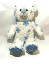 "Build A Bear 17"" SNOW HUGS TEDDY White with blue snowflakes 2010 BABW 4G - $14.96"