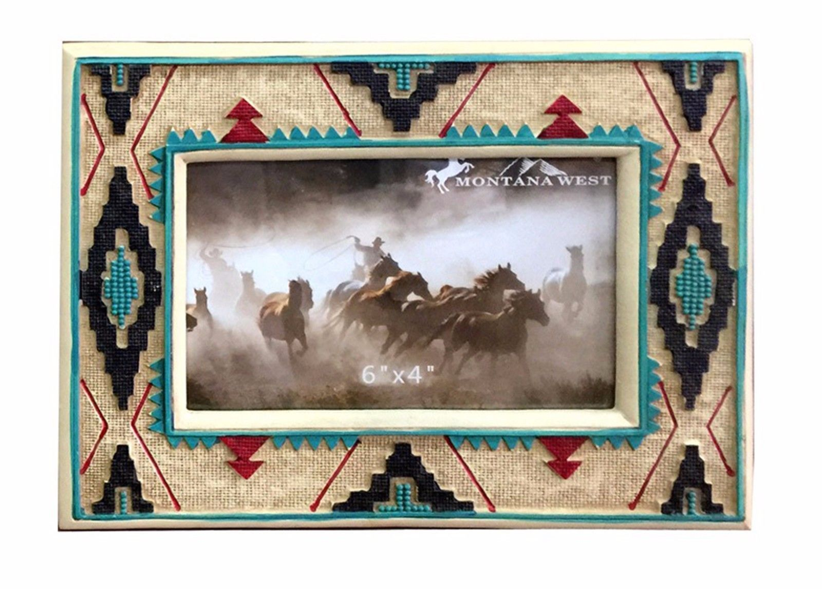 Western Style Decorative Picture Frame Home Decor Montana West White Aztec