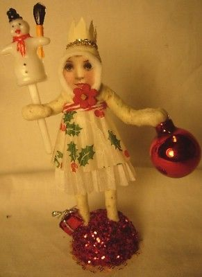 Vintage Inspired Spun Cotton Christmas Girl Ornament No. 83S
