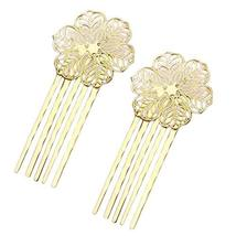 5 Pcs Golden Hair Comb Metal Hair Clip Flower 5 Teeth Side Comb Decorative Comb