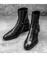 Handmade Men's Black Leather Ankle High Side Zipper Boots - $159.97+