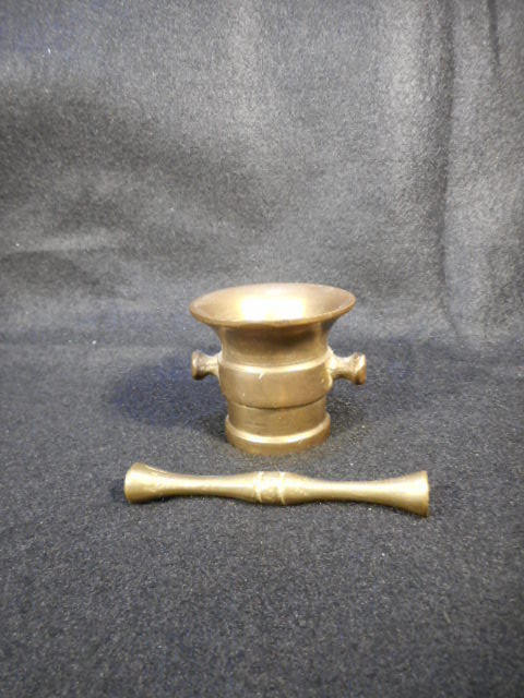 Vintage Heavy Brass Small Pharmacy Apothecary Mortar and Pestle