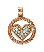 Diamond Heart and Rope Circle Pendant in 14K Pink, Rose Gold - $1,218.00