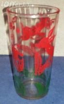 "DEPRESSION GLASS-- HAZEL ATLAS CLEAR DEER CHRISTMAS JUICE GLASS  4 1/8"" - $14.95"