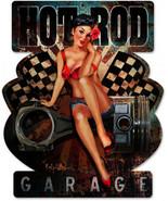 Hot Rod Garage Pin-Up Plasma Cut Metal Sign - $39.95