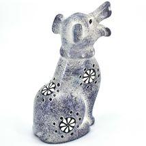 Hand Carved Kenyan Kisii Soapstone Speckled Gray White Happy Puppy Dog Figurine image 4