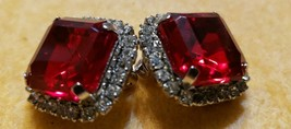 High End Vtg ALL RHINESTONE Clip Earrings Emerald Cut RubyRED Unfoiled O... - $24.75