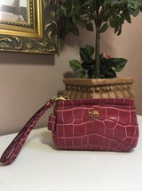 Coach Wristlet Madison Bag Magenta Pink Croc Embossed Leather 46630 W16 - $39.59