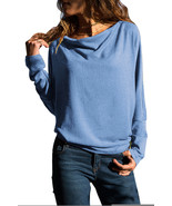 Slate Blue Concise Pullover Sweatshirt  - $20.92