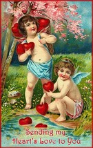 Sending My Heart's love to You Cherubs Cupid Valentines Metal Sign - $29.95