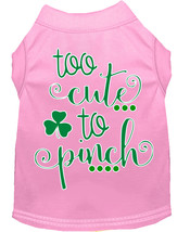 Too Cute to Pinch Screen Print Dog Shirt Light Pink XXL (18) - $11.98