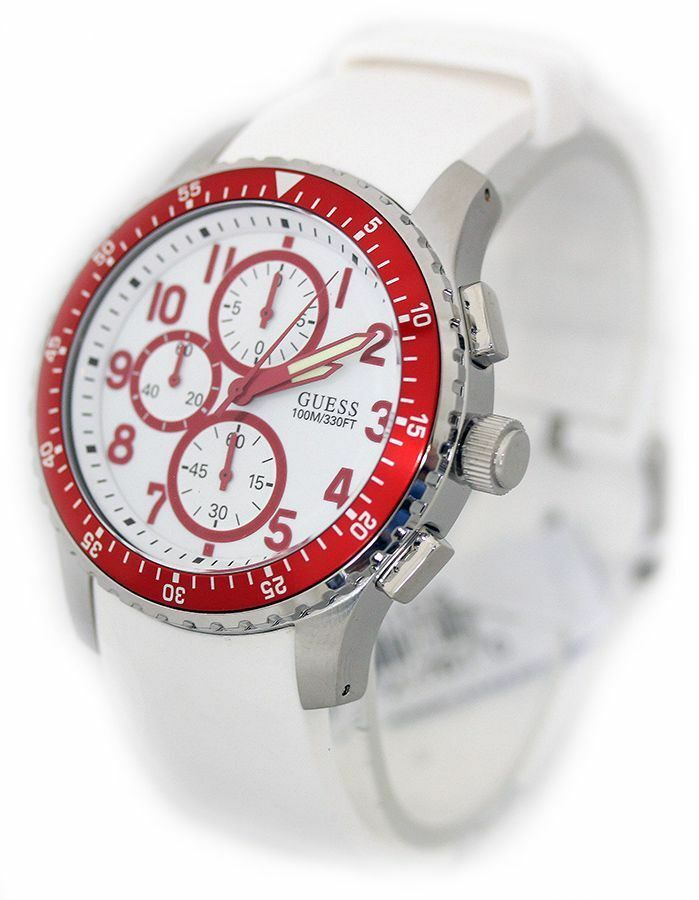 Primary image for BRAND NEW GUESS U12651G3 WHITE SILICONE & RED STAINLESS STEEL MEN'S WATCH