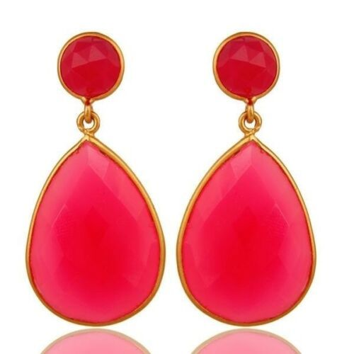 Pink Chalcedony Gemstone 18k gold plated 925 Silver Dangle Earrings Jewelry