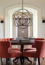 Horchow Foucault's Iron Orb Globe Chandelier Crystal Drop Modern Farmhouse New - $333.00+