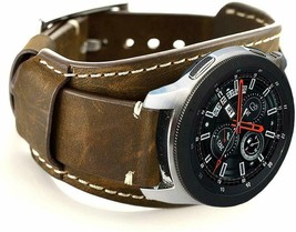 Samsung Galaxy Watch Band 46mm Vintage Replacement Genuine Leather Cuff ... - $30.81