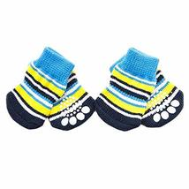 PANDA SUPERSTORE 4Pcs Blue Yellow Striped Knitted Dogs Socks Cat Socks Cute Pet