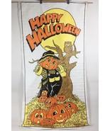 """VTG Halloween Plastic Door Cover 53"""" Banner Poster Vinyl Scarecrow Pumpk... - $8.91"""