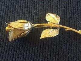 Vintage Long Stem Rose Flower Gold Tone Pin Brooch - $3.00