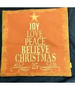 Pillow Cover Burnt Orange Christmas Tree Joy Love Peace Believe 17x17 - $13.86