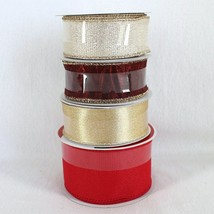 Celebrate It Wired Ribbon Lot of 4 x 25 ft Rolls Red Gold Christmas NEW - $19.99