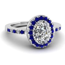Beautiful Swarovski Tanzanite Blue Halo Anniversary Ring In Solid 18k White Gold - $559.99