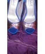 "Shoedazzle ""Bombshell"" Blue Glitter Confetti Slingback Heels Shoes Size ... - $23.07"