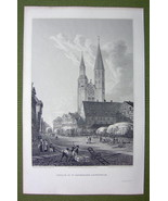 GERMANY Brunswick Church of St Catherine- 1820s Copper Engraving Cpt BATTY - $18.36