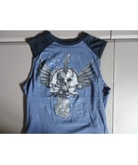 Blue Skull Guitar Wings Sleeveless T Shirt L Free US Shipping - $17.62
