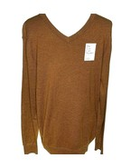 Croft & Barrow Easy Care V Neck Sweater Brown Lightweight L or XL Cotton... - $24.99