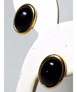 Vintage Trifari Pierced Earrings Black with Gold Trim - $23.09