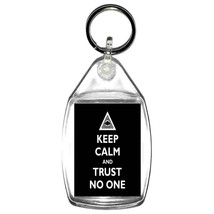 keep calm trust no one  keyring  handmade in uk from uk made parts, keyring, key