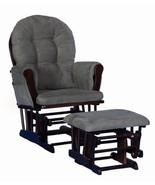 Nursery Glider Ottoman Set Espresso Wooden Frame Gray Cushions Baby Rock... - $192.95