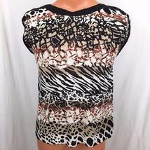 Dana Buckman Animal Print Top Size Small Crochet Boat Neckine Cap Sleeves  - $21.73