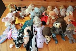 TY beanie baby Lot of 29 Beanie babies Kangaroo Pig Giraffe Cow Elephant... - $39.60