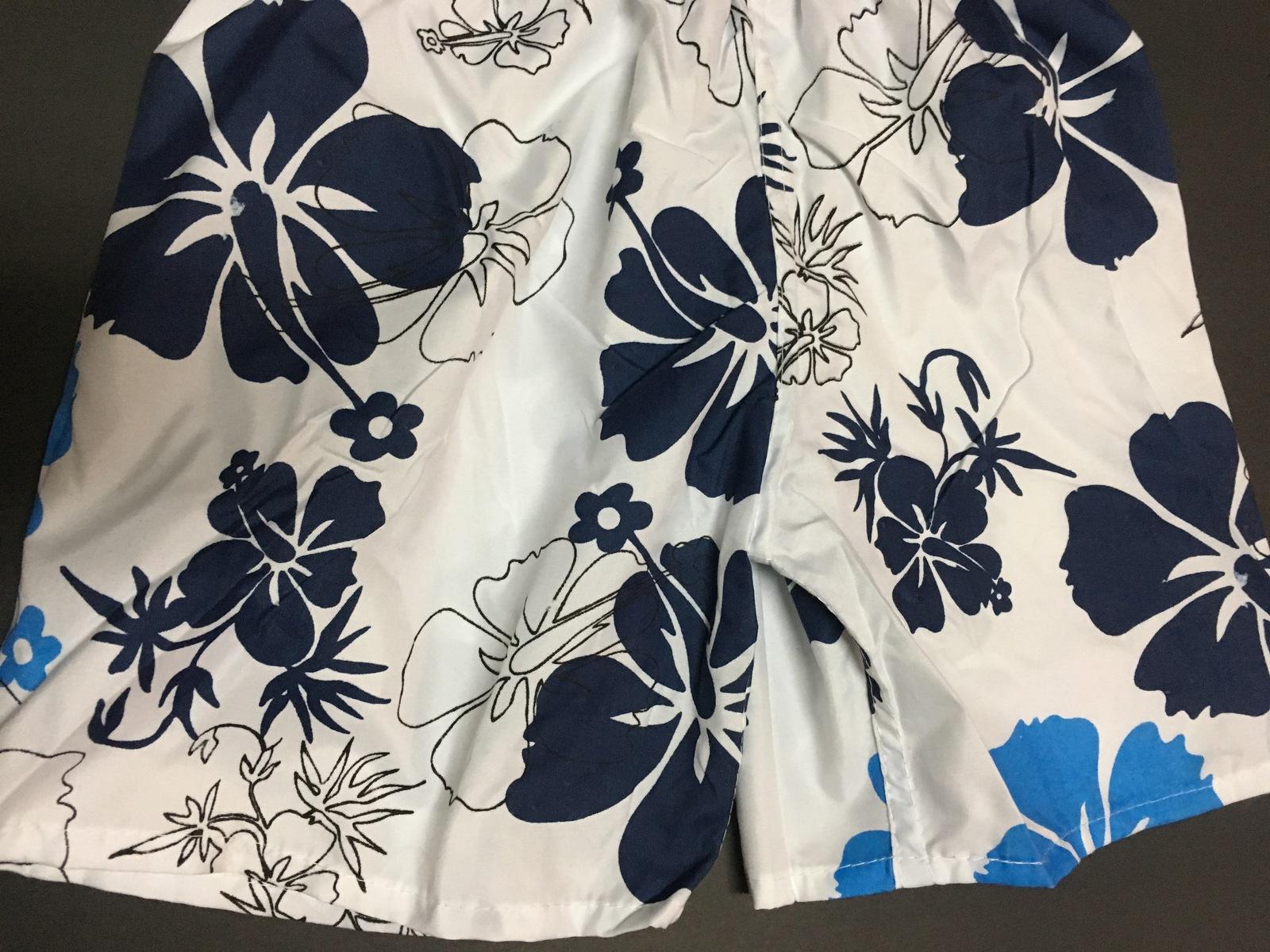 "Boy's Swim Shorts Trunks Blue & White Floral 10.2"" x 14.2"" SZ 3/4 Toddler"