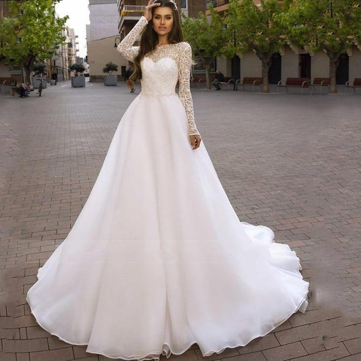 Ganza princess wedding dress 2020 long sleeve bridal gowns backless robe de mariee wedding gowns