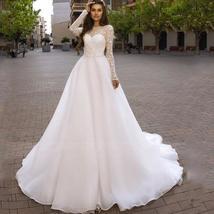 Sweetheart Lace Cut Illusion Long Sleeve Bridal Backless Organza A-Line Wedding  image 1