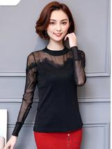 Long Sleeve Vintage Lace Illusion Top - $12.32+