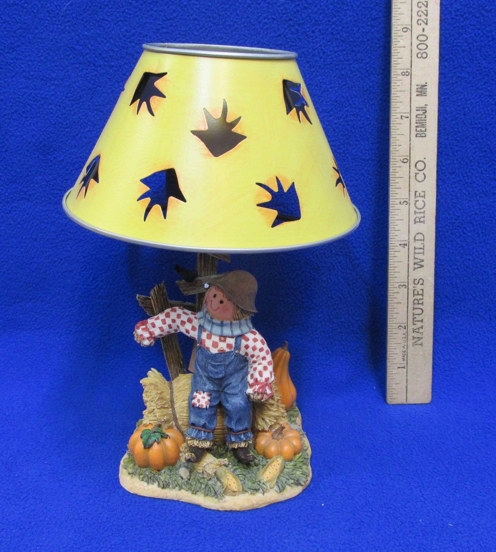 Scarecrow Candle Holder Metal Shade Votive Harvest Decor Resin Home Interiors - $14.84