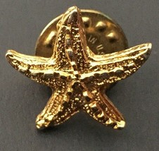 Vintage Small Golden Starfish Pin Goldtone Sea Life Nautical Fashion Jewelry - $8.90