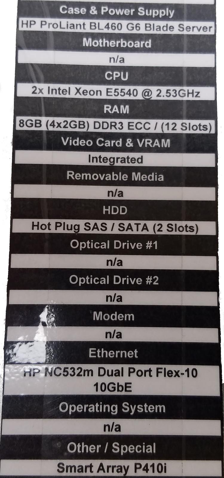 HP ProLiant BL460 G6 Blade Server With 2x Xeon (No HDD) Bin:1