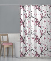 Maytex Cherry Blossom Floral Fabric Shower Curtain, Pink - $30.19