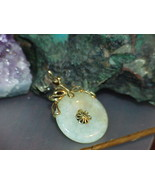 Antique 14k Ornate Jade Jadeite Disc Pendant Yellow Gold Filigree Ornate... - $425.69