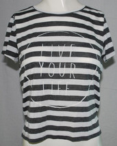 Soft Sexy T American Eagle Medium White Gray Stripes Live Your Life Crop Shirt M - $14.80