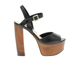 Heeled sandal GUESS FLDE21 in black leather - Women's Shoes - $75.24