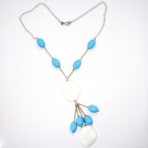 Necklace Silver 925 Pink, Agate White Wavy ,Turquoise Oval, Waterfall image 2