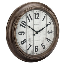 "Antique Brush Bronzed 16"" Large Wall Round Wall Clock, Large Numbers, Qu... - $29.68"