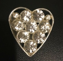 Vintage Heart Brooch Pin Silver Tone Large Rhinestones 1950's Valentines Day - $19.75